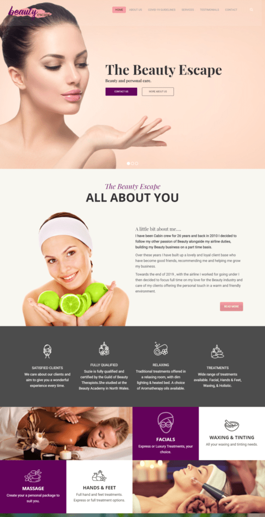 Beauty Treatment web design